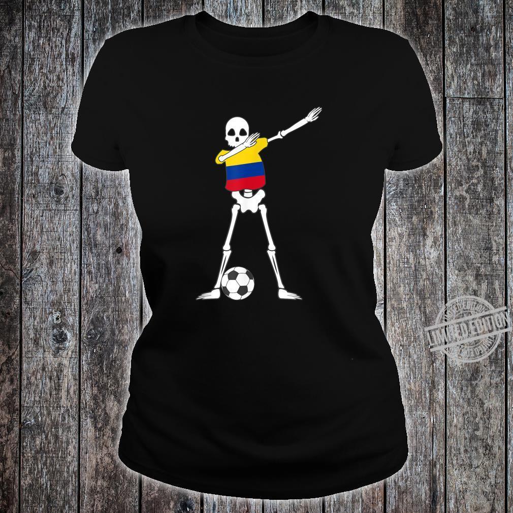 Dabbing Skeleton Colombia Soccer Colombian Dab Dance Shirt ladies tee