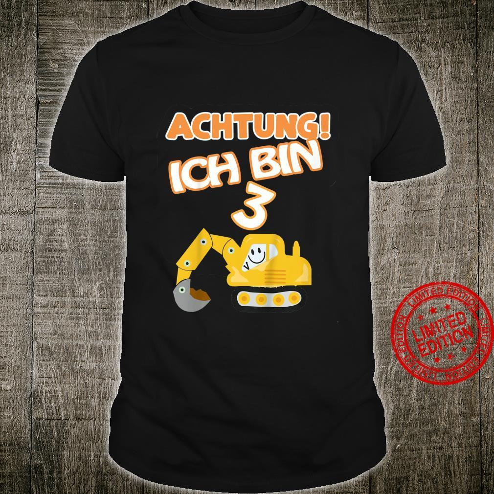 Kinder Bagger 3. Geburtstag Jungen 3 Jahre Baustelle Shirt