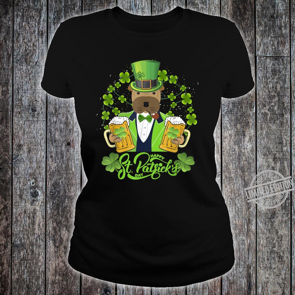 Shar Pei Dog Shamrock St Patrick's Day Shirt ladies tee